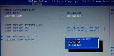 uefi模式中Launch CSM灰色的解决方法